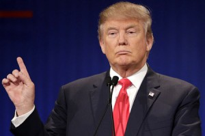 Republican presidential candidate, businessman Donald Trump speaks during the Fox Business Network Republican presidential debate at the North Charleston Coliseum, Thursday, Jan. 14, 2016, in North Charleston, S.C. (AP Photo/Chuck Burton)